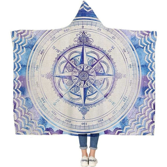 Mandala Designed Hoodie Blanket (Compass) - Straight Up Fun