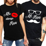 Mr Mustache Right & Mrs Always Right Matching Couples Tee
