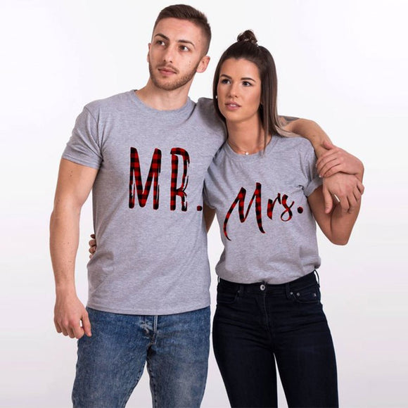 Mr & Mrs Plaided Font Matching Couple Tees