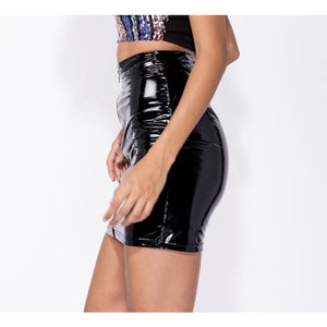 Shalya Black Vinyl Skirt