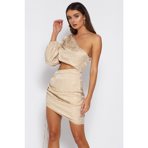 Alisa Draped Dress - Champagne