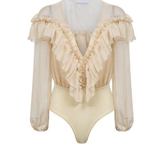 Load image into Gallery viewer, Leyla Baige Bodysuit Blouse
