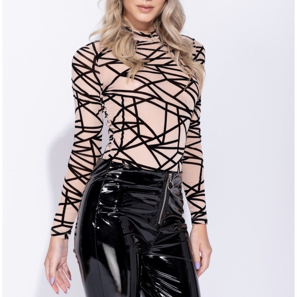 Mely Abstract Mesh Bodysuit