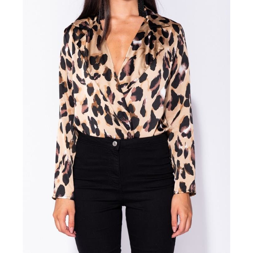 Load image into Gallery viewer, Leopard Print Satin Bodysuit