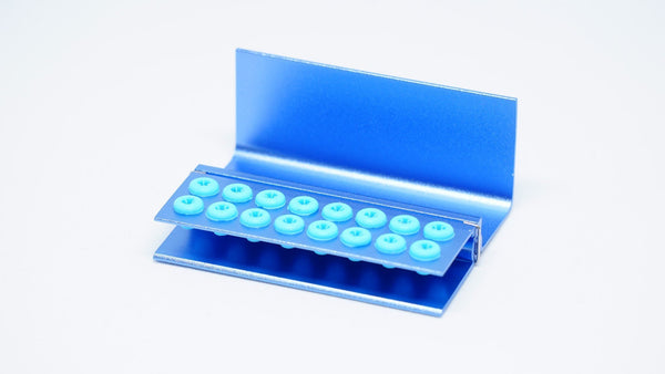 16 Hole Blue Bur Stand, Silicone Ring-RJ122-Smile Dental
