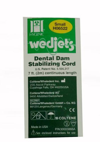 Wedjets Yellow Small Latex Dental Dam Cord 7ft-H06522-Coltene Whaledent Inc.