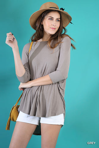 3/4 Sleeve Dolman Top with Scoop Hem in Grey