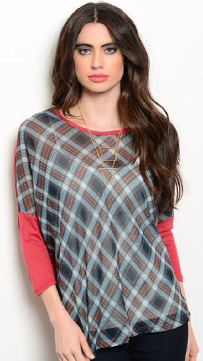 Rust & Teal Top ~ Perfect for Layering!