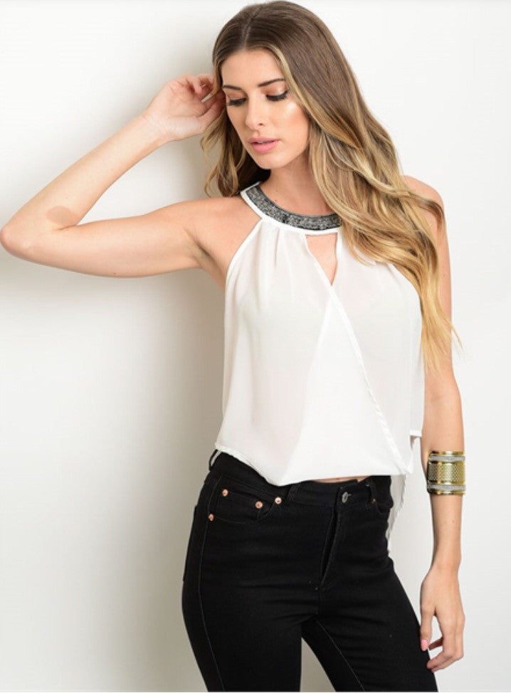 White Halter Neck Top with Detailed Neckline