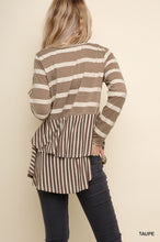 Striped Long Sleeve Babydoll Top with Crochet Trim and a Ruffled Layered Tail