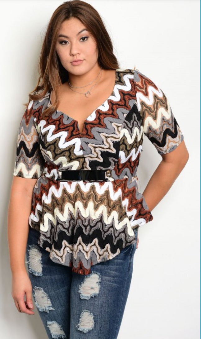 Multi-Colored Zig Zag Misses Top with Metal Accent