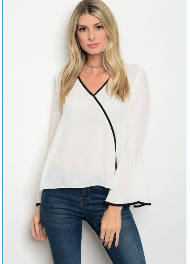 White Top with Black Trim & Flared Sleeves