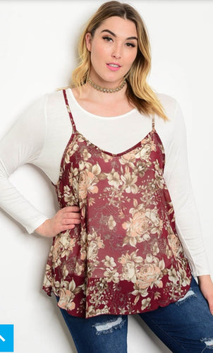 Ivory Long Sleeved Misses Top with Wine & Peach Floral Tank to Layer