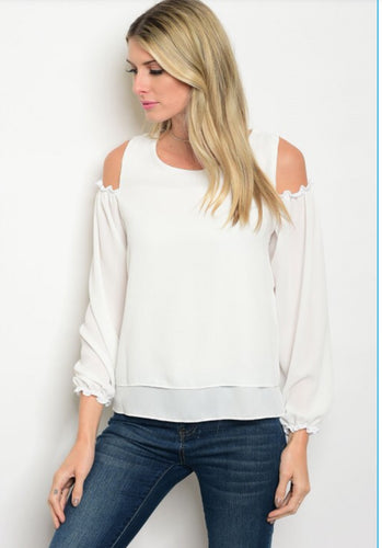 White Cold Shoulder with Chiffon Sleeves