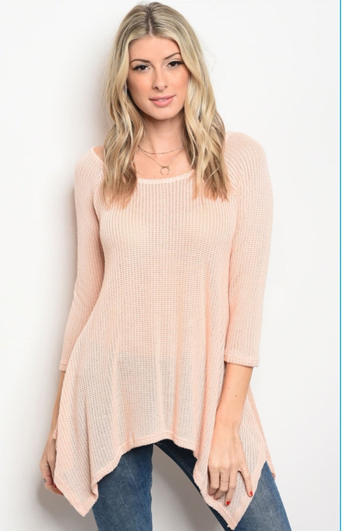 Peach Mesh Light Weight Sweater