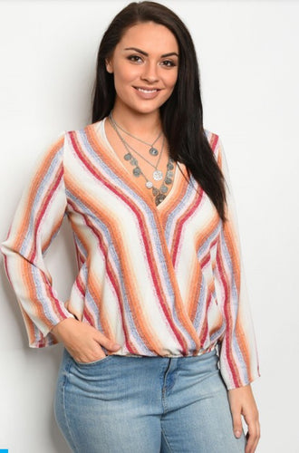 Misses Ivory& Rust Stripes Top