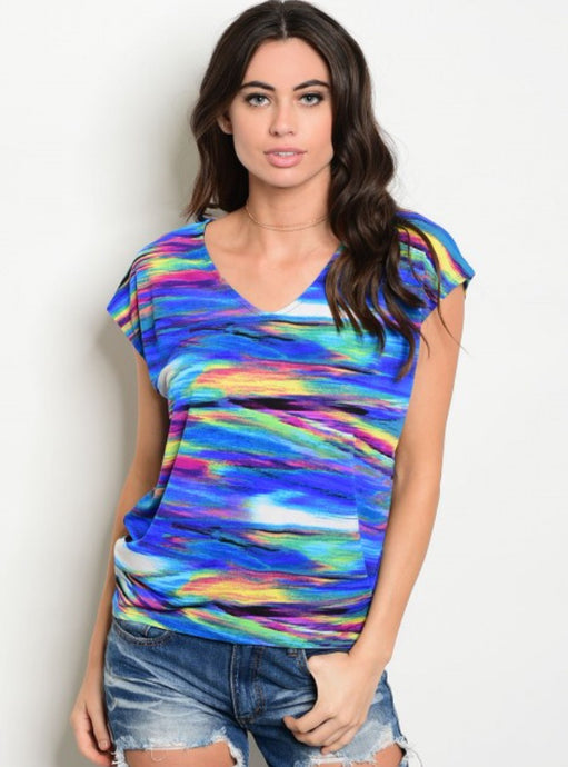 Royal Multi-Colored Cap Sleeve Top