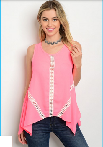 Bright Salmon Tank with Lace Detail