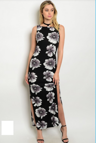 Black Floral Dress with Side Slits
