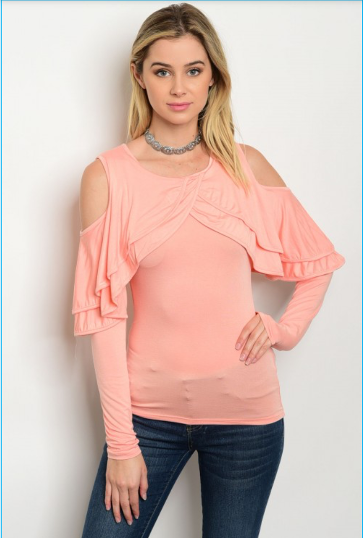 Colder Shoulder Top with Ruffle