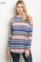 Long sleeve cold shoulder striped slub knit tunic top.