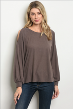 Long sleeve cold shoulder round neckline tunic top