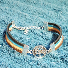 Four color suede bracelt with tree of life charm