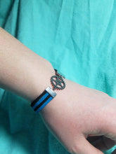Leather bracelet- gear charm