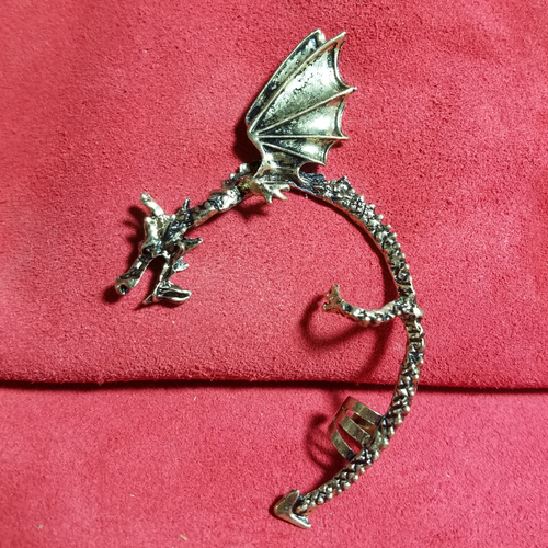 Silver Dragon Ear Cuff