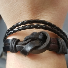 adjustable black leather wrap bracelet