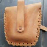back of leather pouch with lacing