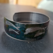 metal purple green dolphin bracelet