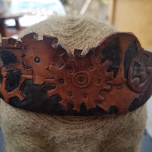front of leather hand tooled gear headband