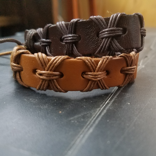 Brown tan leather bracelets