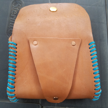 leather pouch blue lacing