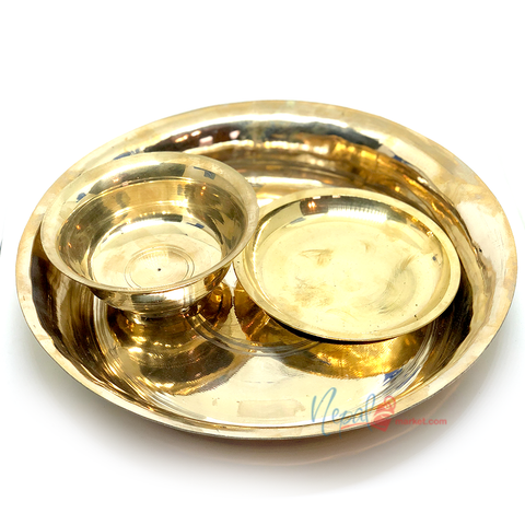 Chares ko Thaal Set (Brass Plate & Bowl Set) - Excludes Free Shipping