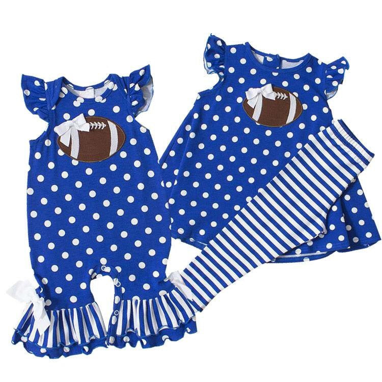 Girls Blue Polka Dot Football Outfit