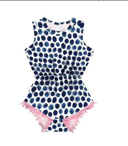 Nicki's Navy Dot Romper