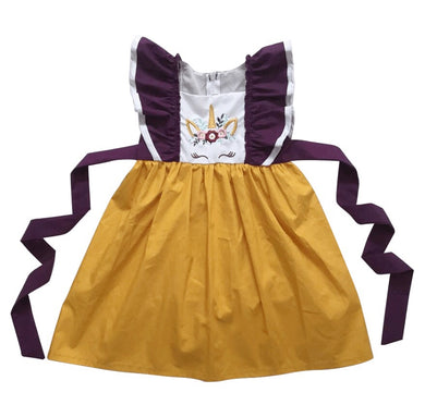 Plum Unicorn Pinafore