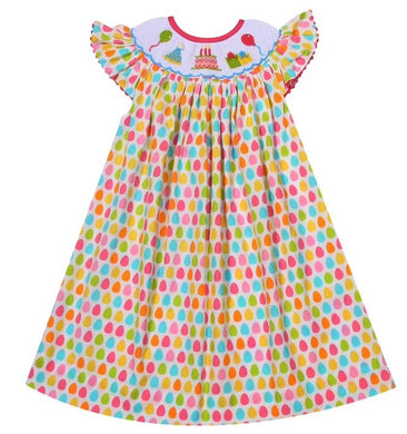 Polka Dot Birthday Bishop Dress with Smocking