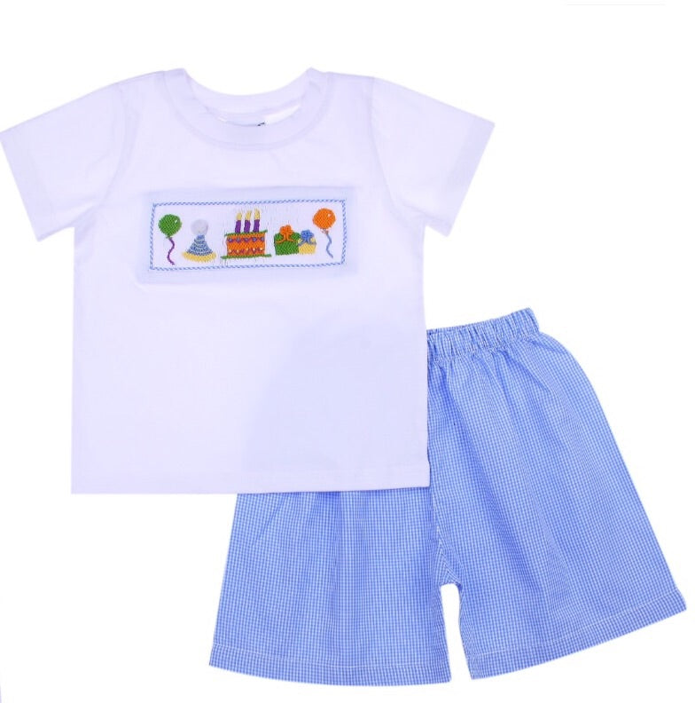 Boy's Gingham Birthday Set