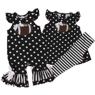 Girls Black Polka Dot Football Outfit