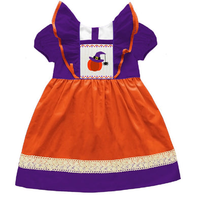 Pumpkin Witch Smocked Pinafore Dress