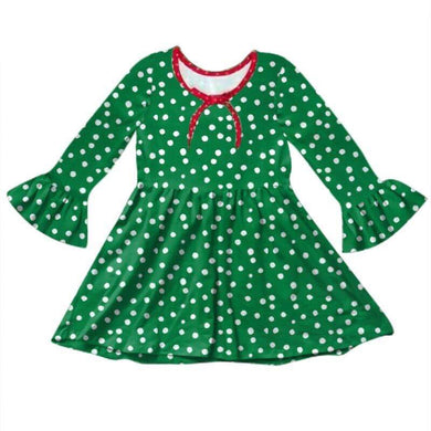 Holiday Dot Swing Dress - Green