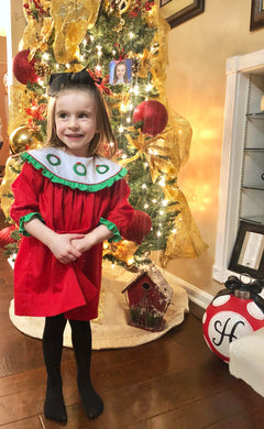 Christmas Wreath Smocked Dress