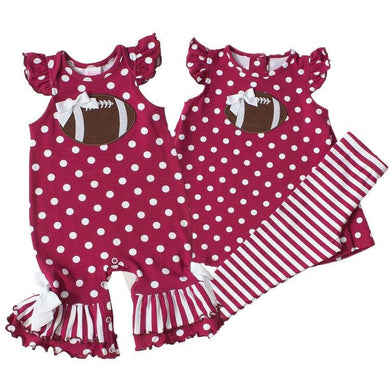 Girls Maroon Polka Dot Football Outfit