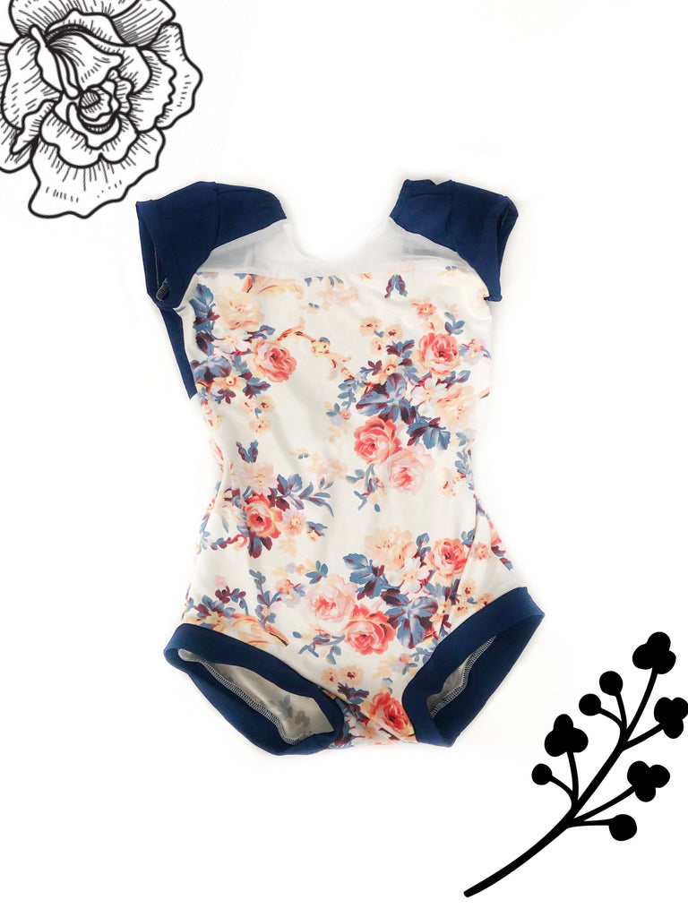 #22 Ivory Navy and light Pink leotard Betty Harlow