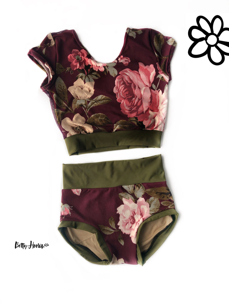 Gorgeous maroon floral set or leotard Betty Harlow