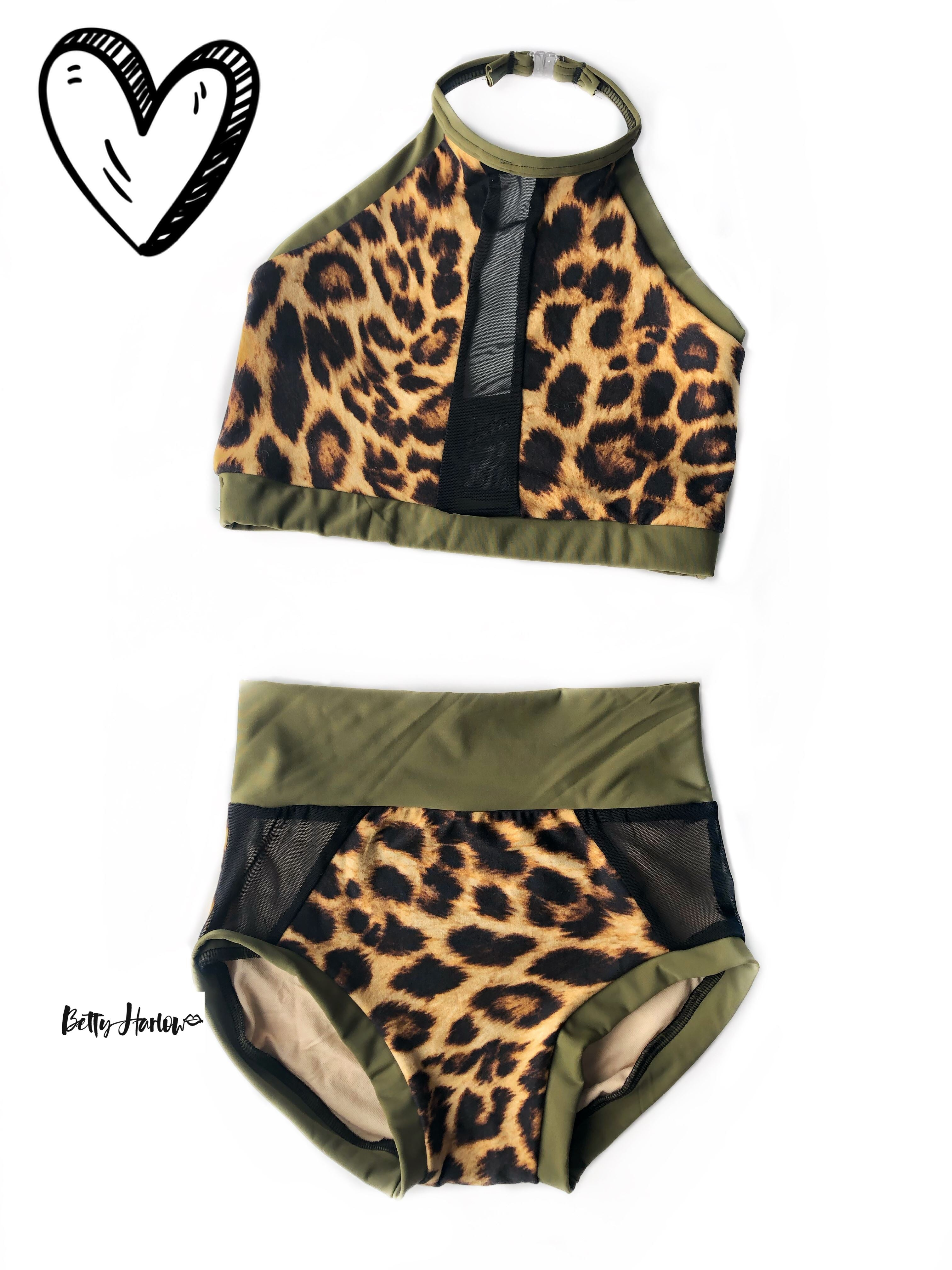 Leopard & olive halter set or leotard Betty Harlow