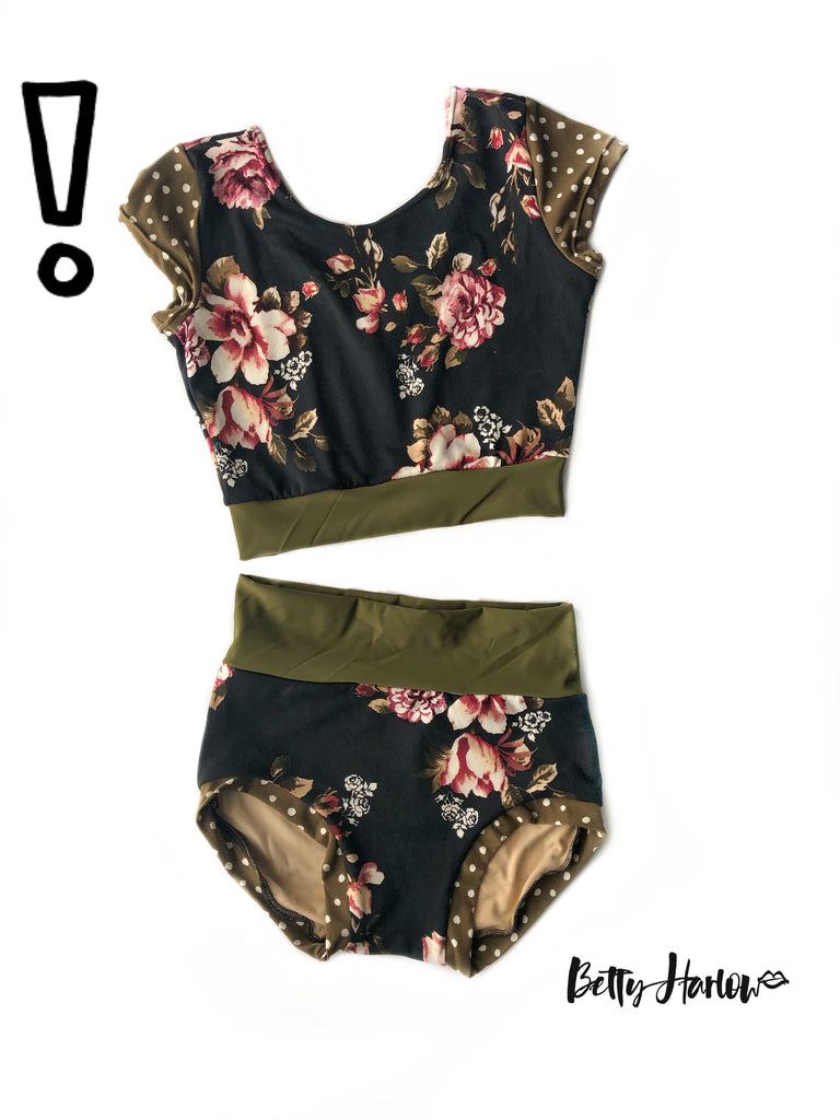 Olive dots & floral set or leotard Betty Harlow